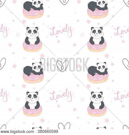 Vector Pattern: Seamless Panda Bear Pattern On Light Pink Background, Panda With Different Gestures