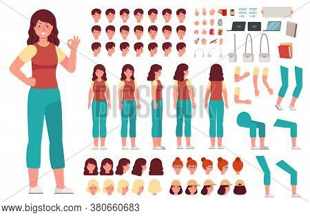 Cartoon Female Character Kit. Woman Animation Body Parts. Girl Constructor With Hand Gestures And Va