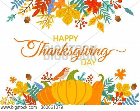 Thanksgiving Day. Hand Drawn Happy Thanksgiving Cover With Lettering And Holiday Elements Fall Yello