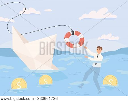 Bankruptcy Business. Financial Rescue, Sinking Business In Crisis And Economic Risks. Economy Recess