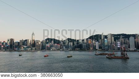 Victoria Harbor, Hong Kong, 24 July 2020: Hong Kong city