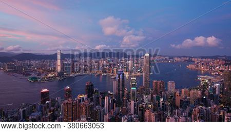 Hong Kong, 15 July 2020: Hong Kong city sunset