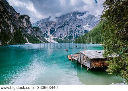 Famous Lake Lago Di Braies Italy, Pragser Wildsee In South Tyrol, Beautiful Lake In The Italian Alps