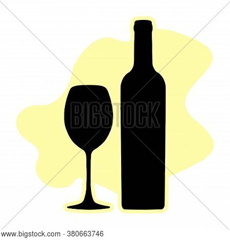 Bottle Of Wine And Wineglass Vector Icon, Logo, Sign, Emblem, Silhouette Isolated On White