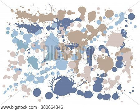 Ink Stains Grunge Background Vector. Decorative Ink Splatter, Spray Blots, Dirty Spot Elements, Wall