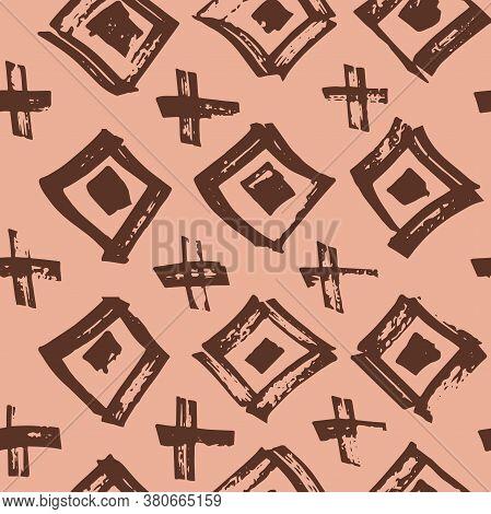 Tie Dye Japanese Geometric Summer Seamless Pattern. Geo Wabi Sabi Bohemian Kimono Print. Scribble Ca