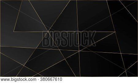 Black Luxury Triangular Texture. Gold Lines Polygon Premium Frame. Elegant Dark Platinum Chic Shapes
