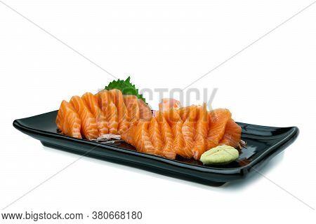Salmon Sashimi On White Background.  Japan Food Concept