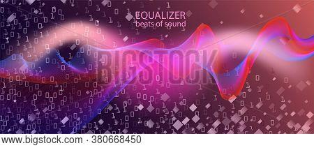 Binary Code Vector Landing Page. Computing Colorful Music Design. Pink Blue Purple Background. Matri
