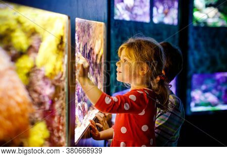 Kid Boy And Toddler Girl Visiting Together Zoo Aquarium. Two Children Watching Fishes, Corals And Je