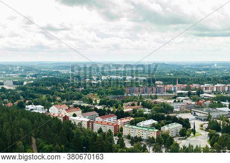 Lahti, Finland - 4 August 2020: View To Lahti City From Ski Jump Tower Suurmaki