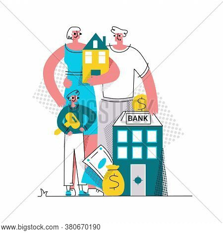 Vector Flat Abstract Illustration Of Family Who Bought House With Mortgage. At Bottom Is Bank Where