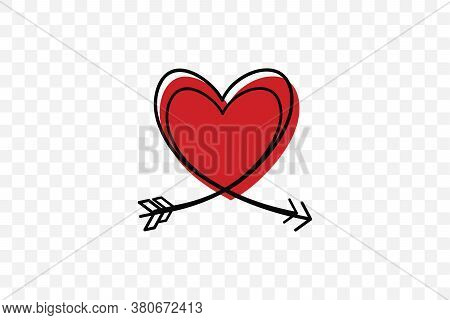 Two Cupid S Arrows In The Continuous Drawing Of Lines In The Form Of A Heart In A Flat Style. Contin