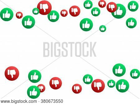 Thumbs Up Thumbs Down Red And Green Isolated Vector Like Dislike Social Media Signs Scatter. Recomme