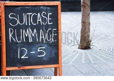 Blackboard Sandwich Board Sign Advertising For A Flea Market
