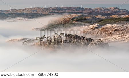 Panoramic View Of Beautiful Cloud Inversion, Observed At Sunrise From The Slopes Of Ben Cruchan As T