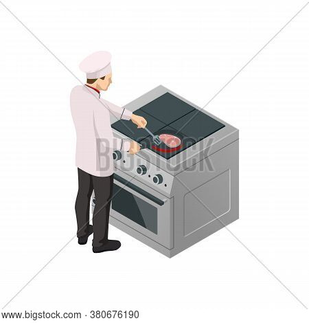 Isometric Male Chef Isolated On White. Chef In Uniform Cooking In A Commercial Kitchen.