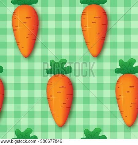 Seamless Carrot Pattern On A Background Of Green Stripes For Tablecloths, Textiles, Fabric, Home Dec