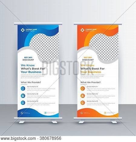Roll Up Banner Design Template, Abstract Background, Pull Up Design, Modern X-banner, Leaflet And Br