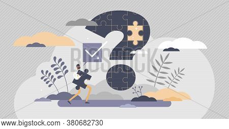 Problem Solution And Puzzle Question And Answer Scene Tiny Persons Concept. Business Management Chal