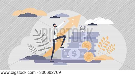 Profit Success With Financial Money Income Growth Flat Tiny Persons Concept. Economical Wealth Reven
