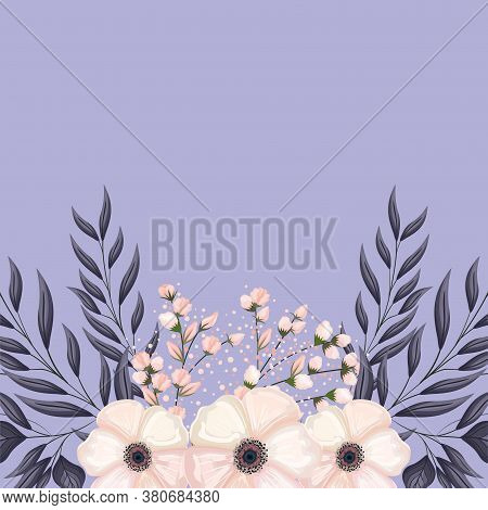 White Flower And Buds With Leaves Wreath Painting Design, Natural Floral Nature Plant Ornament Garde