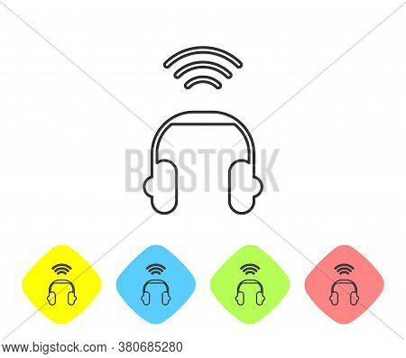 Grey Line Smart Headphones System Icon Isolated On White Background. Internet Of Things Concept With