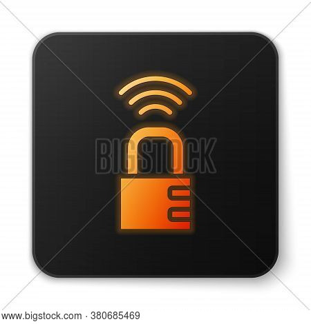 Orange Glowing Neon Smart Safe Combination Lock Icon Isolated On White Background. Combination Padlo