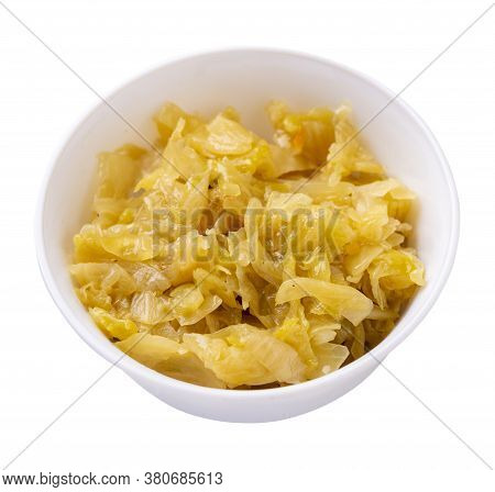 Braised Cabbage In White Plate Isolated On White Background. Braised Cabbage Top Side View .healthy