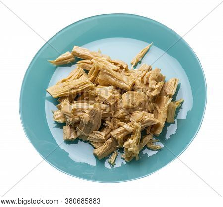 Soy Asparagus Noodles On Turquoise Plate, Isolated On A White Background. Healthy Food . Asian Food.