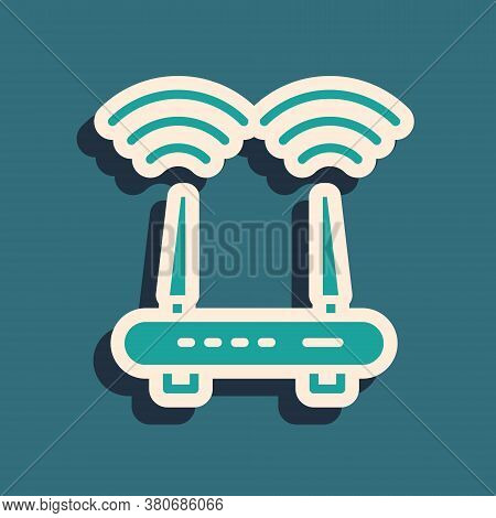 Green Router And Wi-fi Signal Icon Isolated On Green Background. Wireless Ethernet Modem Router. Com
