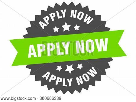 Apply Now Round Isolated Ribbon Label. Apply Now Sign