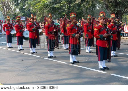 Kolkata, West Bengal, India - 26th January 2020 : Marh Past Of Indian Army Officers Dressed As Music