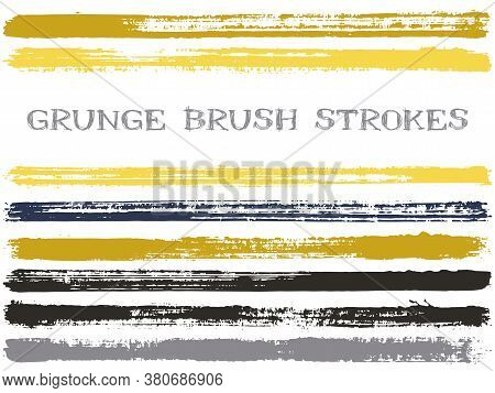 Ink Brush Strokes Isolated Design Elements. Set Of Paint Lines. Urban Stripes, Textured Paintbrush S