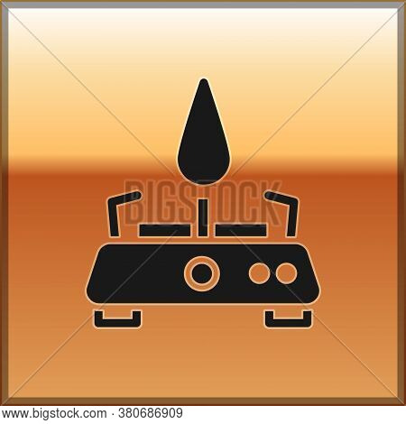 Black Camping Gas Stove Icon Isolated On Gold Background. Portable Gas Burner. Hiking, Camping Equip