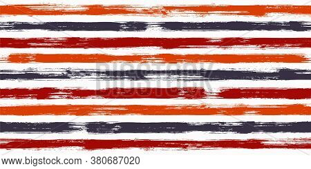 Smeared Watercolor Brush Stripes Seamless Pattern. Ink Paintbrush Lines Horizontal Seamless Texture