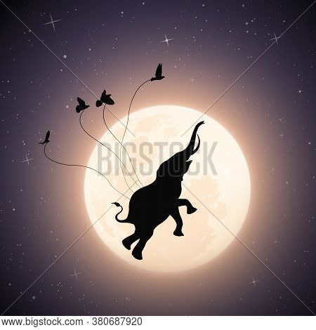 Elephant Flying In Sky On Moonlight Night. Birds Carrying Big Animal In Starry Sky. Abstract Silhoue