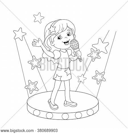 Coloring Page Outline Of Cartoon Girl Singing A Song On Stage. Coloring Book For Kids
