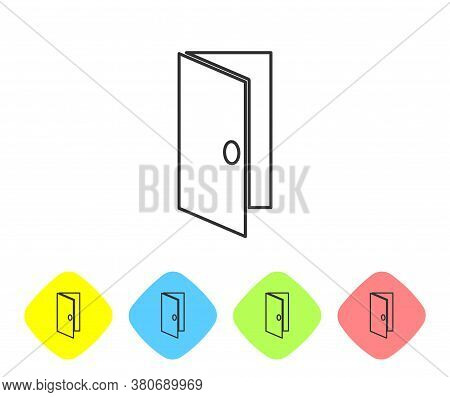 Grey Line Closed Door Icon Isolated On White Background. Set Icons In Color Rhombus Buttons. Vector