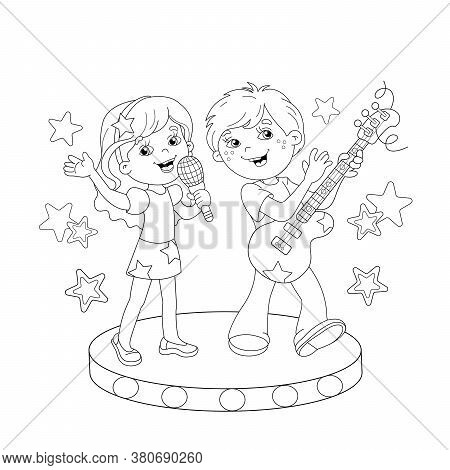 Coloring Page Outline Of Cartoon Boy And Girl Singing A Song With A Guitar On Stage. Coloring Book F