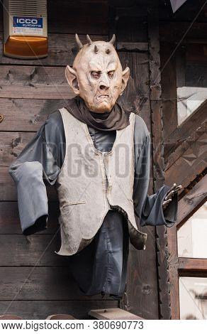 Brasov, Romania-june 14 2018 : Traditional Folk Romanian Mask Of Dracula. Scary Romanian Souvenir