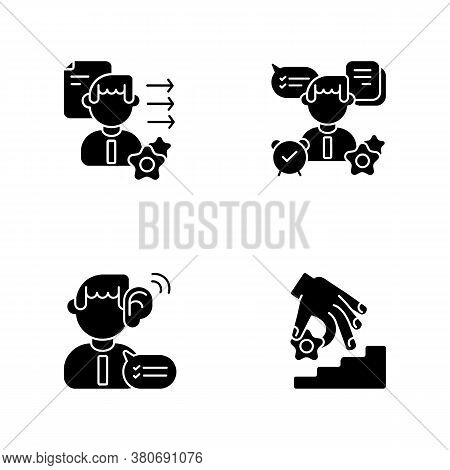 Professional Skills Development Black Glyph Icons Set On White Space. Self Organization, Listening,