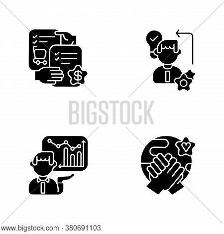 Business Skills Black Glyph Icons Set On White Space. Professional Competence Silhouette Symbols. Se
