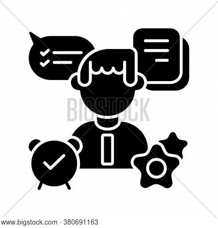 Organizational Skills Black Glyph Icon. Effective Planning, Time Management, Multitasking Silhouette