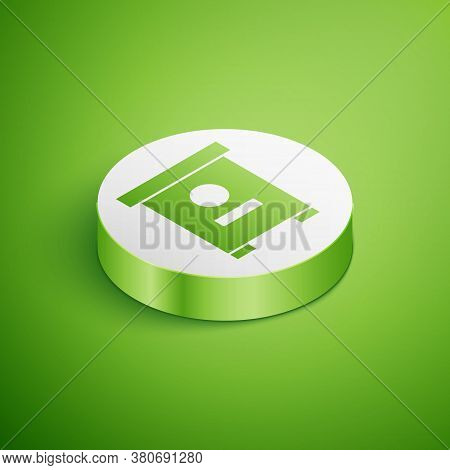Isometric Hive For Bees Icon Isolated On Green Background. Beehive Symbol. Apiary And Beekeeping. Sw