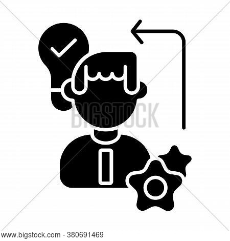 Diligence Black Glyph Icon. Creative Thinking, Self Improvement Skills, Personal Growth Silhouette S