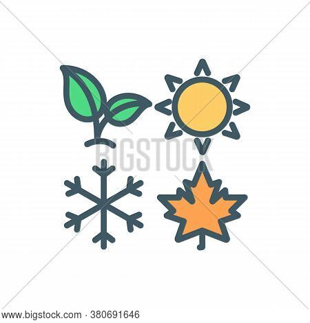 Four Seasons Rgb Color Icon. Changes In Months. Weather Phases. Climate Of Time Of Year. Summer And