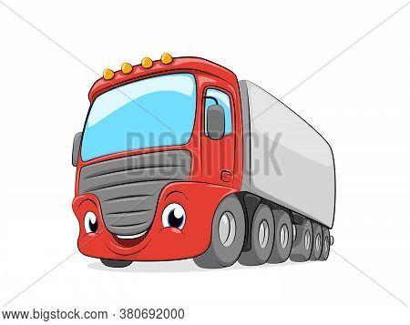 Cartoon Cargo Semi Truck Isolated On White Background.