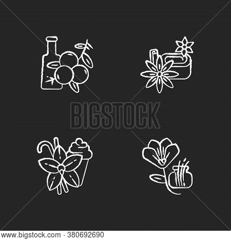 Chalk White Icons Set On Black Background. Aromatic Flavoring. Food Seasoning. Cooking Condiment. Ju