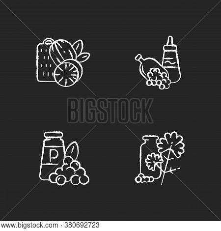 Condiments Chalk White Icons Set On Black Background. Food Seasoning. Natural Supplement. Cooking Co